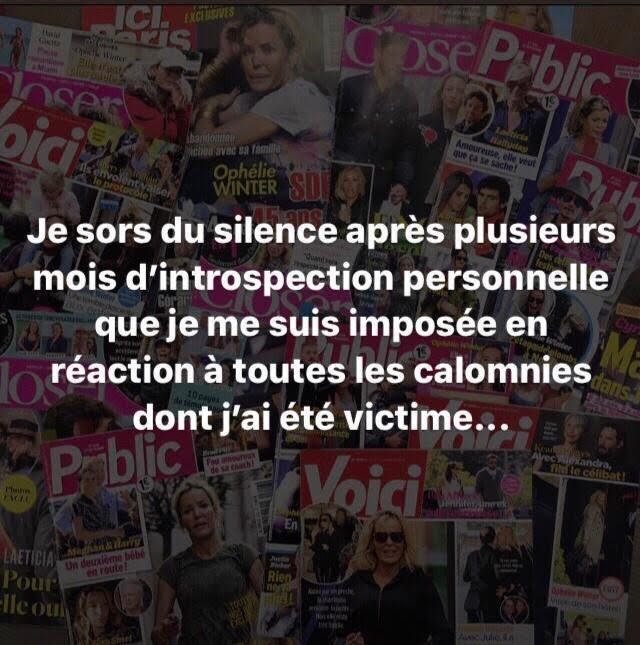 Ophélie Winter - Message à la presse people