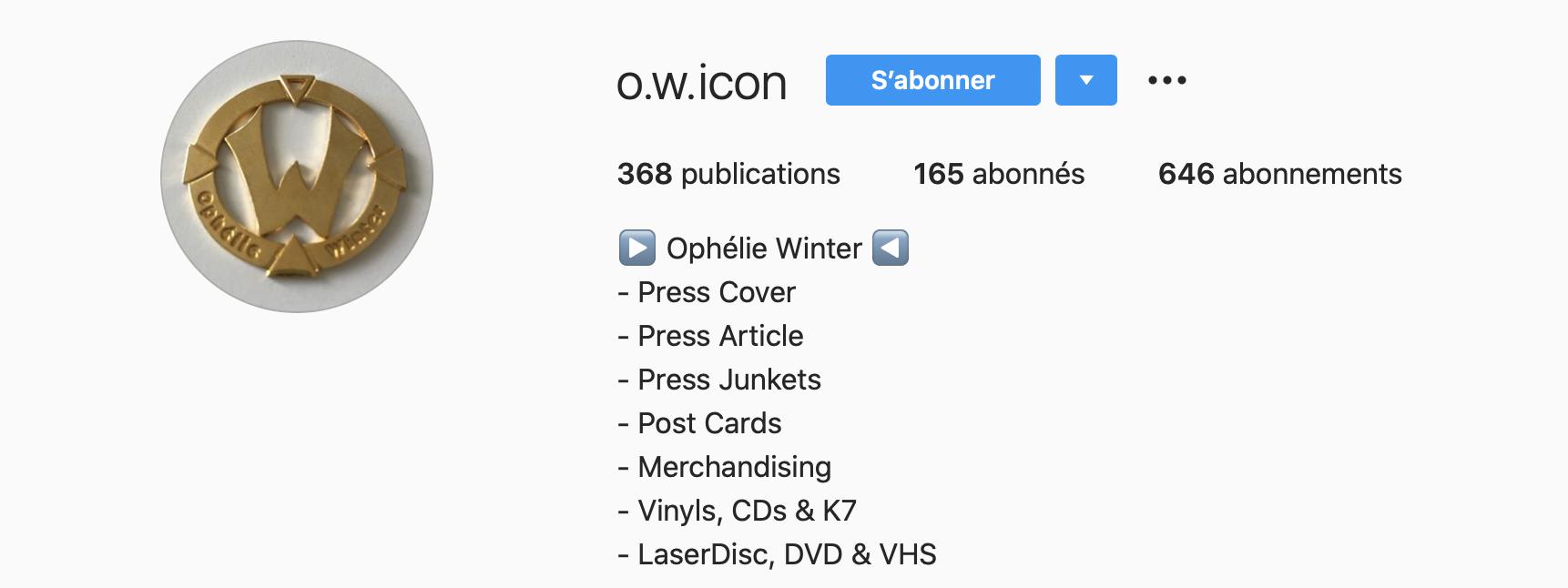 O.W.ICON, un compte Instagram sur Ophélie Winter